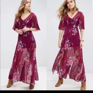 Band Of Gypsies Boho Bouquet Floral Maxi Dress  S
